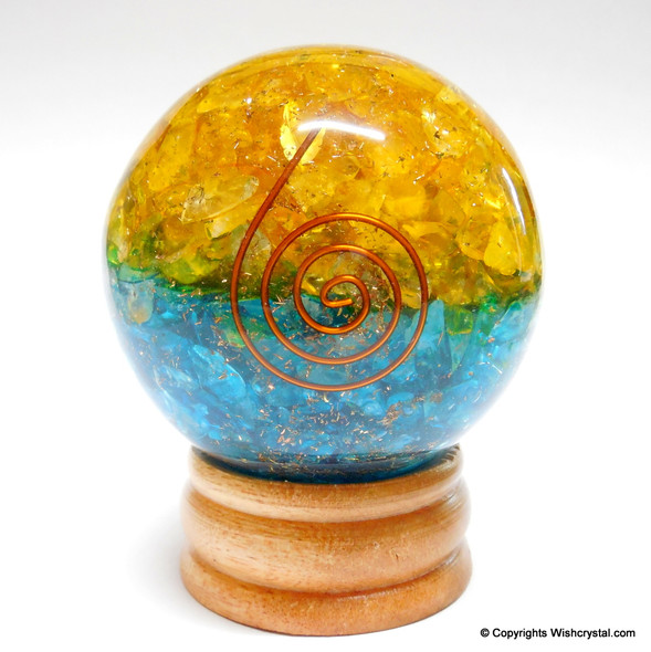 Halo Citrine & Blue Crystals Orgonite Sphere EMF Protection Healing - 60 mm