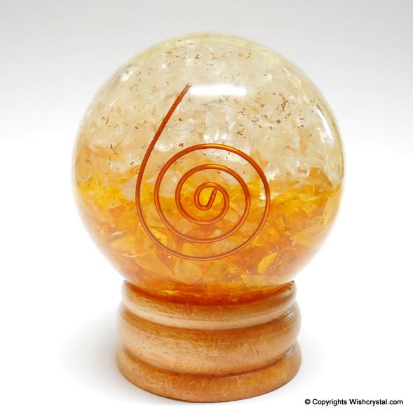 Halo Citrine & Quartz Crystal Orgonite Sphere EMF Protection Healing - 60 mm