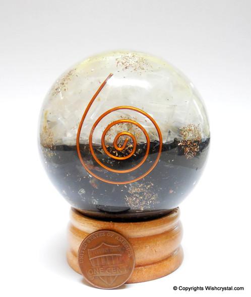 Black Tourmaline & Quartz Crystal Orgonite Sphere EMF Protection Healing - 60 mm