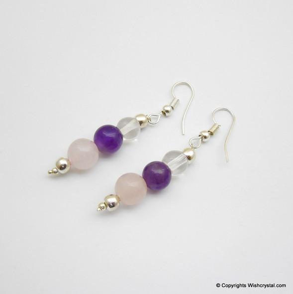 Crystal, Amethyst & Rose Quartz Beads Earring