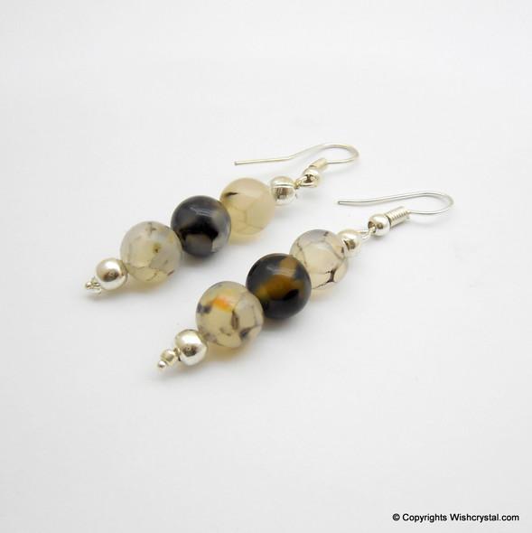 Black Moonstone Beads Earring