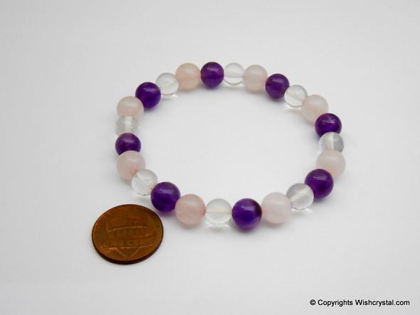 Amethyst, Crystal & Rose Quartz Beads Bracelet