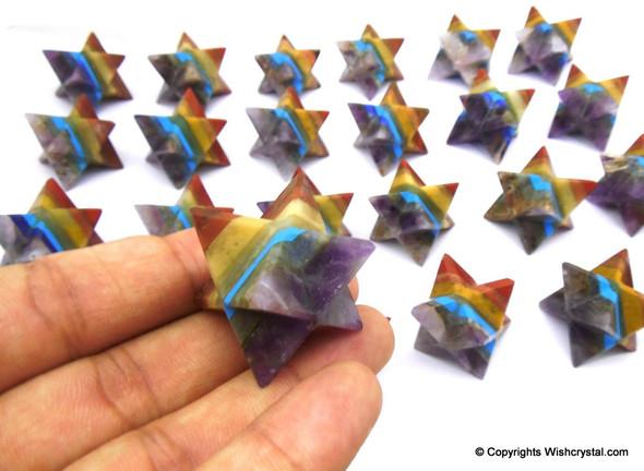 Lot of 20 Bonded Chakra Stones Merkaba Stars - 20 to 22 mm