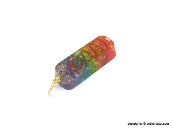 Chakra Orgonite Pendant with copper coil
