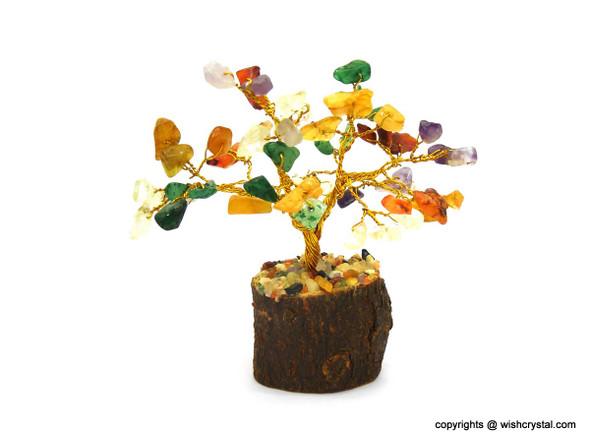 Chakra stones Bonsai Crystal Tree for Healing   4-inch Height