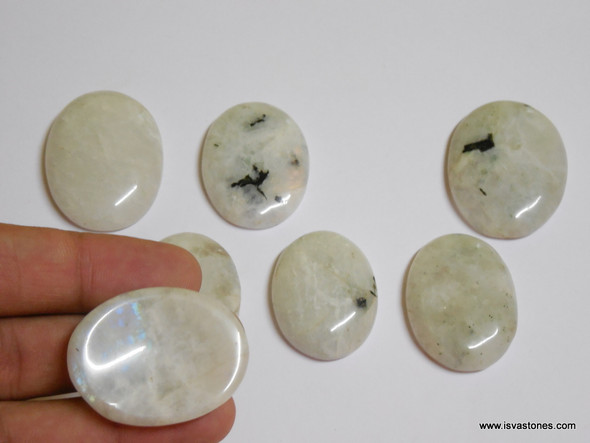 Rainbow Moonstone Oval Worry Stone