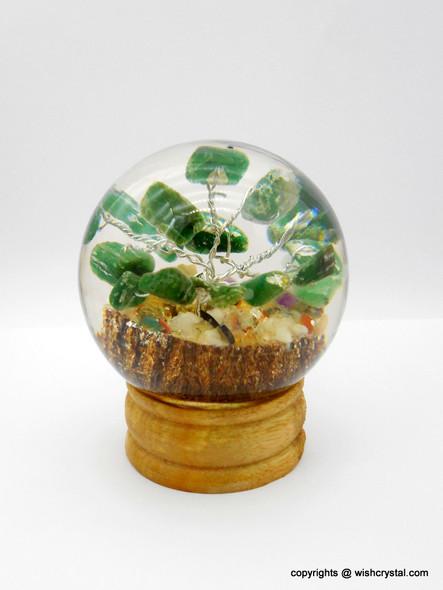 Green Aventurine Crystal Tree in Orgonite Sphere