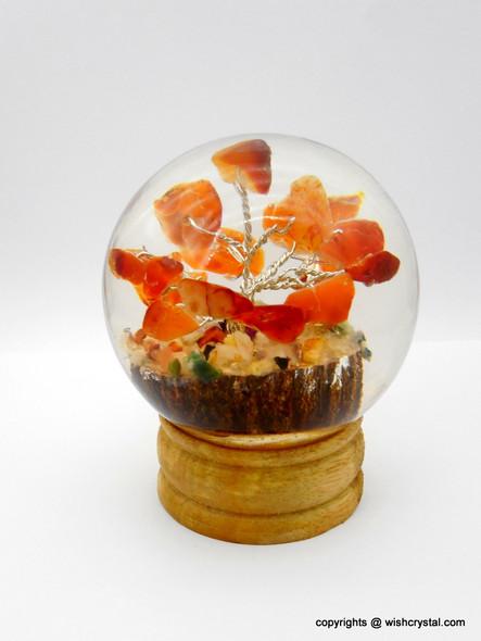 Red Carnelian crystal tree in Orgonite Sphere