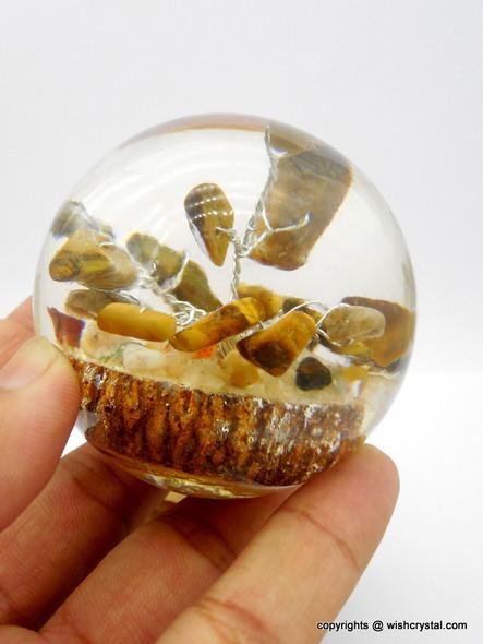Tiger Eye Crystal Tree in Orgonite Sphere
