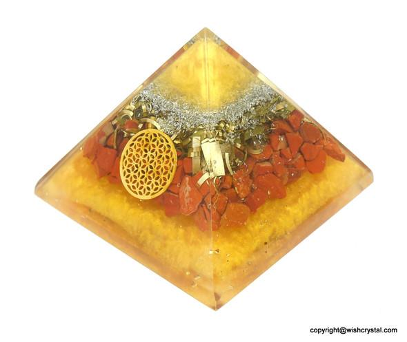 Red Jasper Flower of life Orgonite Pyramid - 60 mm