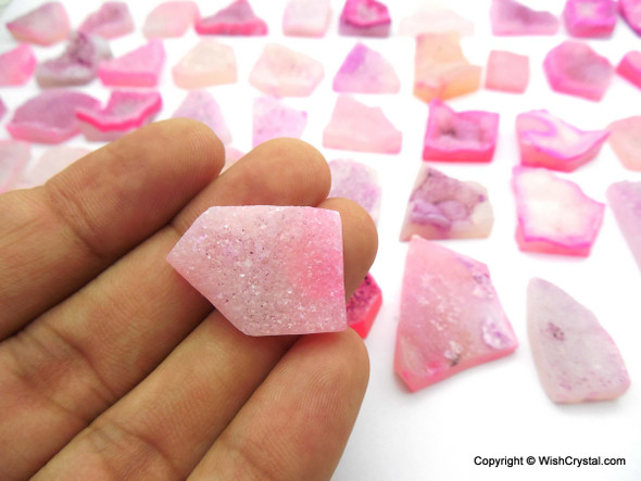 Bag of 50 Pink Druzy Agate pieces