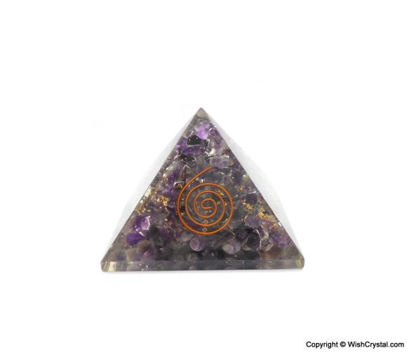 Amethyst Filled Orgonite Pyramid - 40 mm