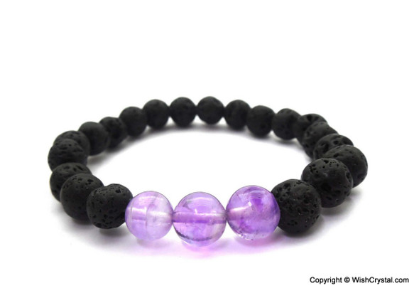 Amethyst & Lava Beads Chakra Bracelet - Abundunce