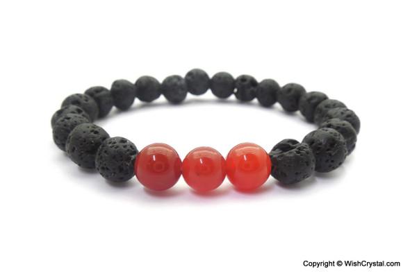 Carnelian & Lava Beads Chakra Bracelet