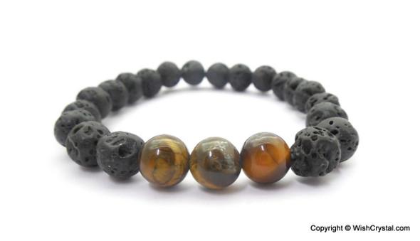 Tiger Eye & Lava Beads Chakra Bracelet