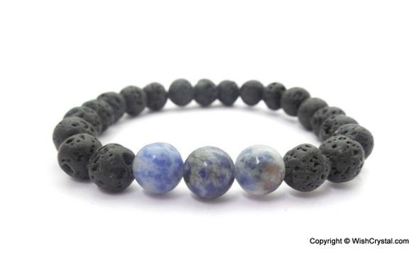 Lapis Lazuli & Lava Beads Chakra Bracelet