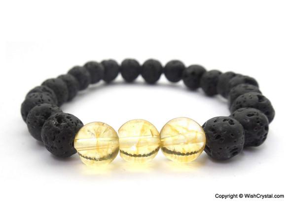 Citrine & Lava Beads Chakra Bracelet