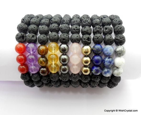 White Jasper & Lava Beads Chakra Bracelet