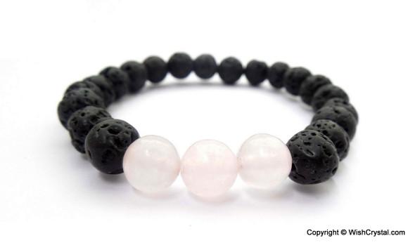 Rose Quartz & Lava Beads Chakra Bracelet