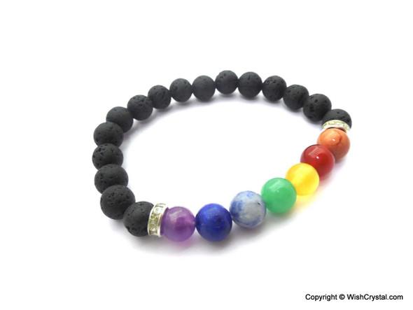 Chakra Stones & Lava Beads Bracelet