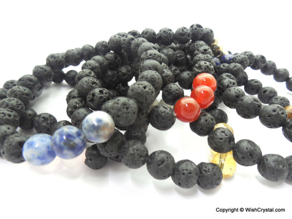 Bag of 50 Gemstone & Lava Bracelets - Mixed Lot