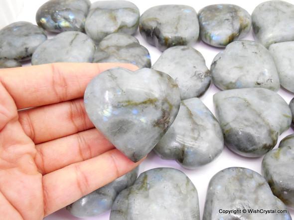 Bag of 8 Labradorite Puffy Hearts - 1 3/4 inch