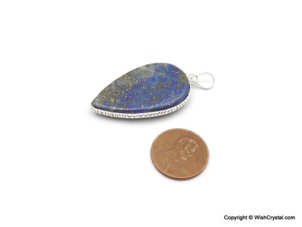 Lapis Lazuli Leaf shaped filgree pendant