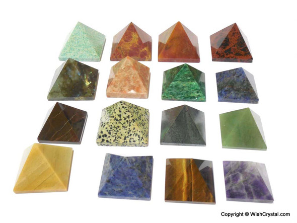 Bag of 5 Mixed Big Size Gemstone Pyramids 2-inch