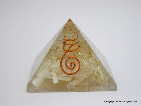 Selenite Orgone Pyramid - Big Size - 90 to 100 mm