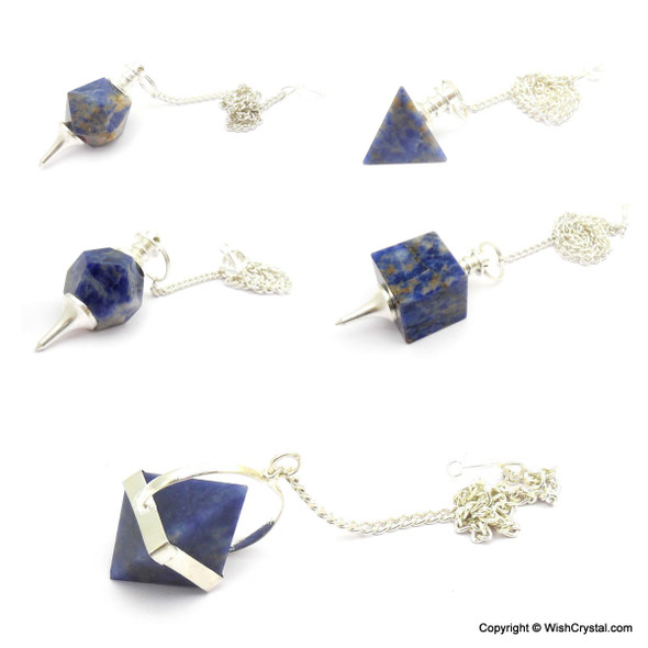 Sodalite Sacred Geometry Set of Pendulums