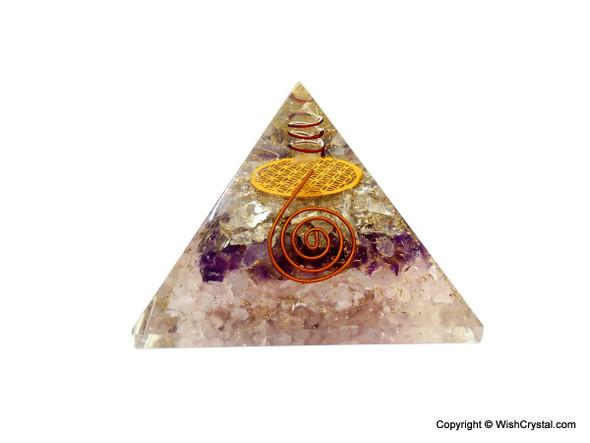Rose Quartz, Amethyst & Crystal Quartz Orgonite Pyramid with Flower of Life