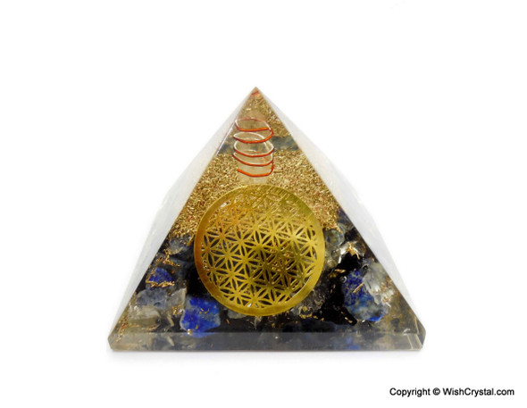 Lapis Lazuli, Crystal Quartz and Black Tourmaline Orgonite Pyramid with Flower of Life