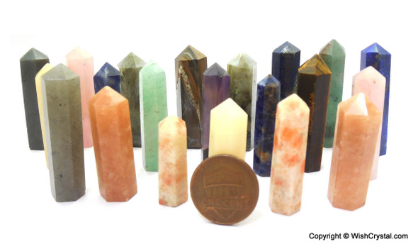 Bag of 100 Natural Crystal Points of various assorted crystals