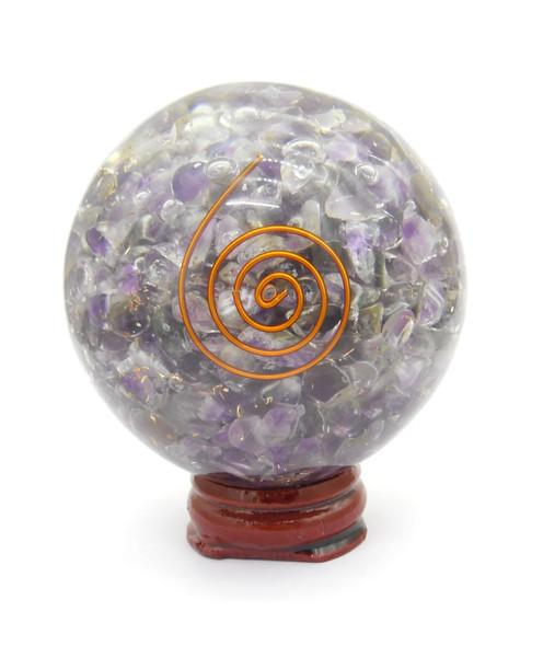 Bag of 5 mixed Orgonite Spheres with Natural Crystals