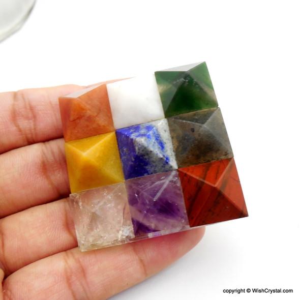 Natural Crystal Chakra Grid Pyramid