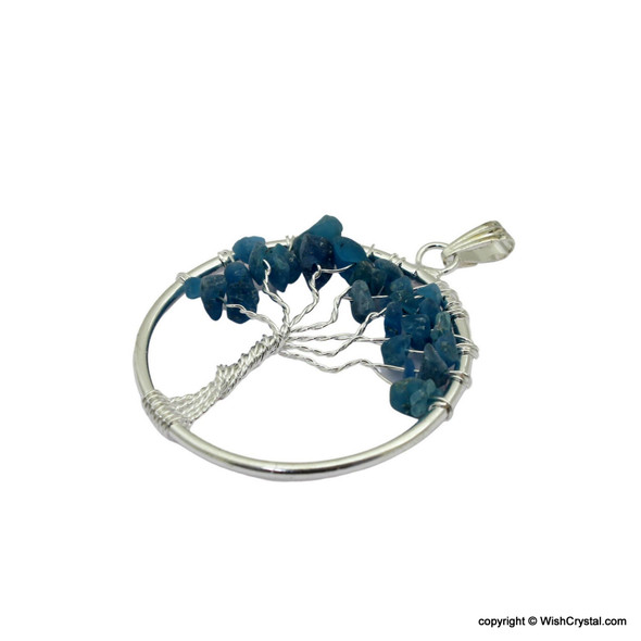 Teal Blue Quartz Tree of life Pendant