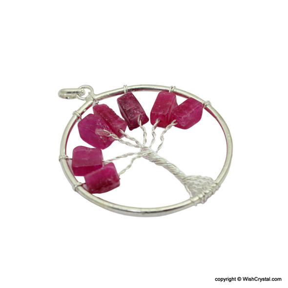 Mystic Pink Quartz Tree of life Pendant