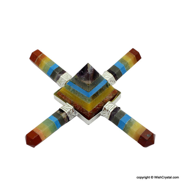 Chakra Stones bonded Point and Bonded Pyramid 4 points aura energy generator
