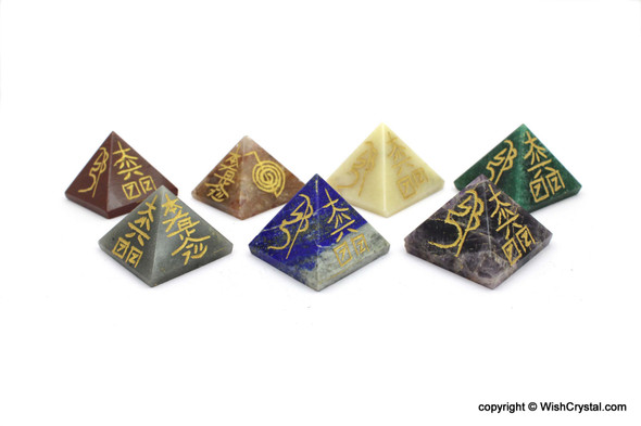 Chakra Stone set of Natural Crystal Pyramid engraved with Reiki Sign on 4 sides