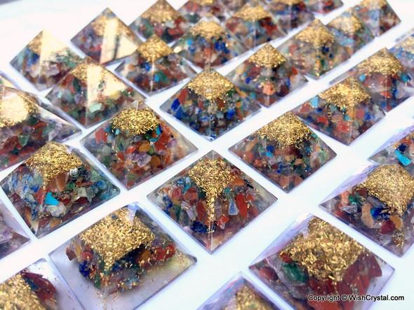 Chakra Stones Chips Petite Orgonite Pyramid - 25 mm