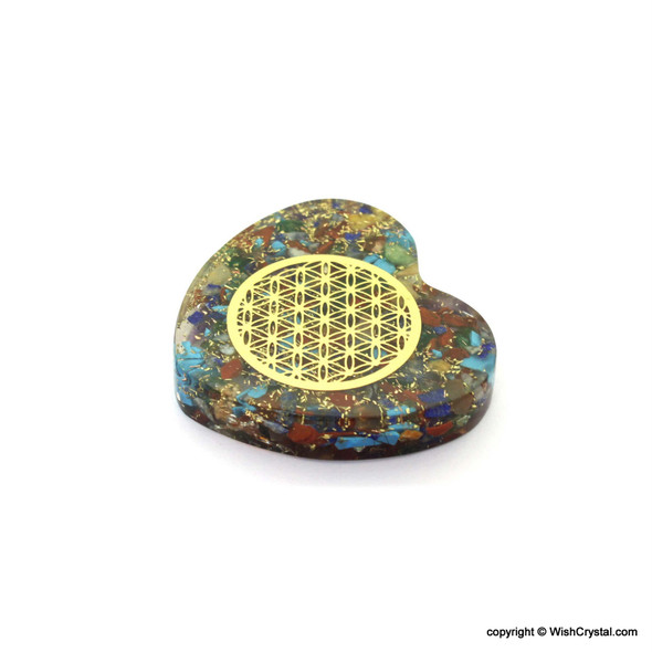 Chakra Stones Orgonite Worry stone with Flower of life