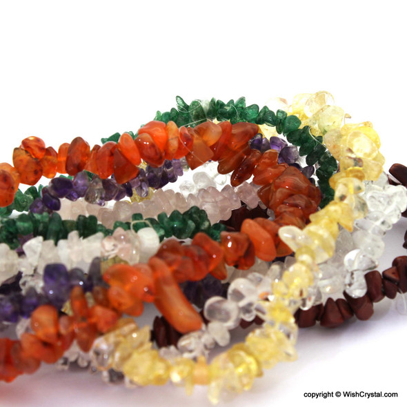 Natural Crystal Chakra Stones Petite Chips Bracelets
