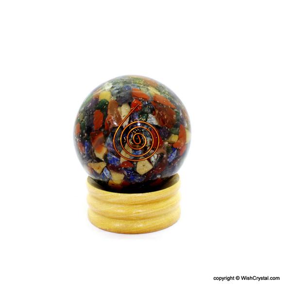 Chakra Stone Natural Crystals filled Orgonite Sphere - Mixed Crystals