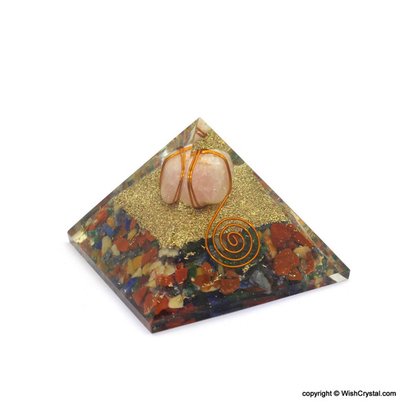 Rose Quartz Tumble Wire Wrap Orgonite Pyramid with Crystal Point and copper coil