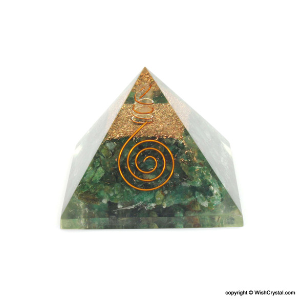Green Aventurine Orgonite Pyramid with Crystal Quartz point and copper coil