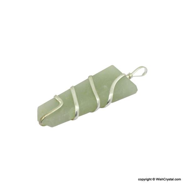 Green Aventurine 1 3/4 inch wire wrap pendant