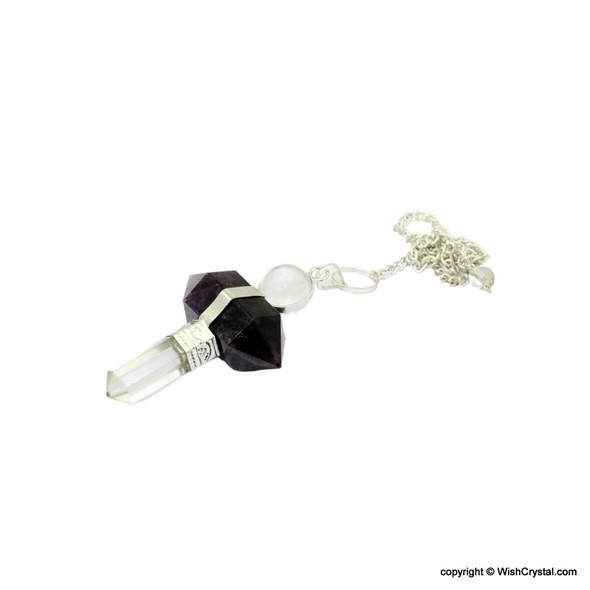 Crystal Quartz & Amethyst Hexagonal 3-piece Pendulum