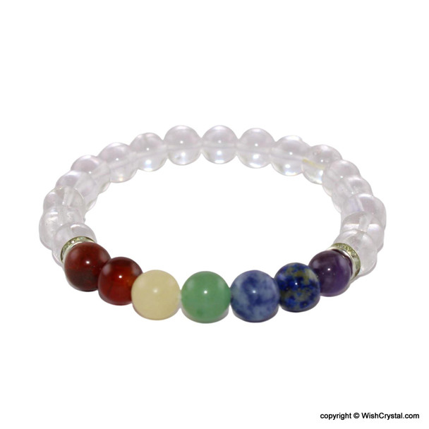 Chakra Stones Beads Bracelet with Natural Crystal Quartz Beads