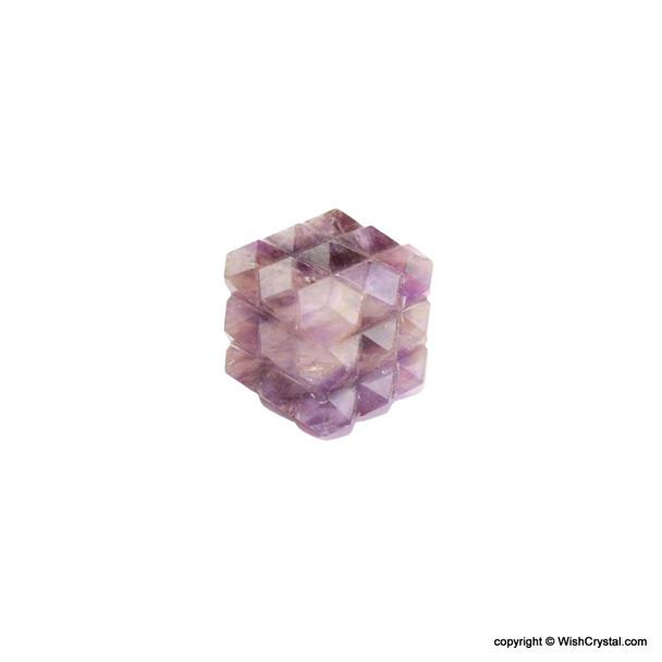 Amethyst Pyramid Cube Aura Energy Generator with 54 Points