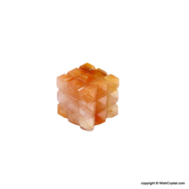 Red Aventurine Pyramid Cube Aura Energy Generator with 54 Points